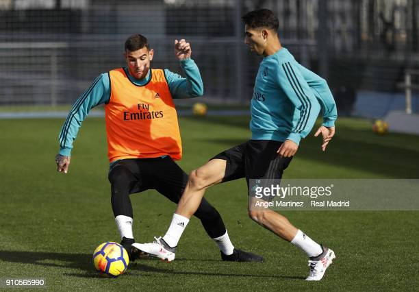 Achraf Hakimi and Theo Hernandez of Real Madrid in action during a training session at Valdebebas training ground on January 26 2018 in Madrid Spain