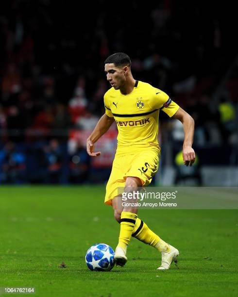 Achraf Hakimi controls the ball during the Group A match of the UEFA Champions League between Club Atletico de Madrid and Borussia Dortmund at...
