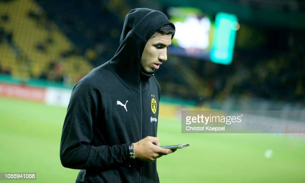 Achraf Hakimi looks on prior to the DFB Cup match between Borusssia Dortmund and 1 FC Union Berlin at Signal Iduna Park on October 31 2018 in...