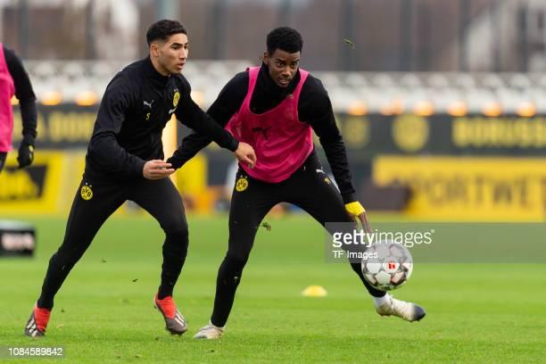 Achraf Hakimi of Borussia Dortmund and Alexander Isak of Borussia Dortmund battle for the ball during a training session at BVB training center on...
