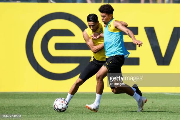 Achraf Hakimi of Borussia Dortmund and Jadon Sancho of Borussia Dortmund battle for the ball during the Borussia Dortmund Training Session on July 30...