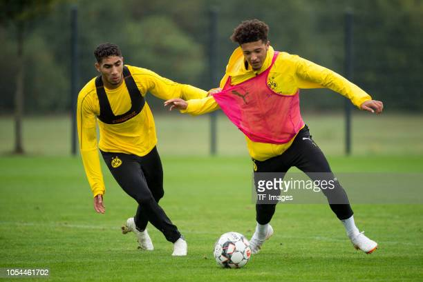Achraf Hakimi of Borussia Dortmund and Jadon Sancho of Borussia Dortmund battle for the ball during a training session on September 23 2018 in...