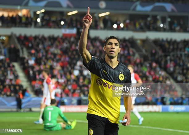 Achraf Hakimi of Borussia Dortmund celebrates after scoring his sides second goal during the UEFA Champions League group F match between Slavia Praha...
