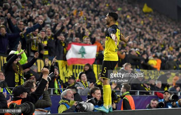Achraf Hakimi of Borussia Dortmund celebrates after scoring his team's third goal during the UEFA Champions League group F match between Borussia...