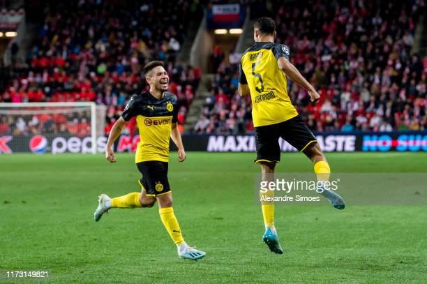 Achraf Hakimi of Borussia Dortmund celebrates his goal to the 01 during the Group F UEFA Champions League between Slavia Praha and Borussia Dortmund...