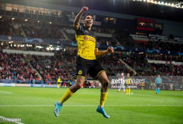 Achraf Hakimi of Borussia Dortmund celebrates scoring his goal to the 0:2 during the Group F - UEFA Champions League between Slavia Praha and...
