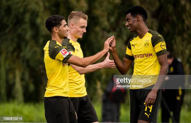 Achraf Hakimi of Borussia Dortmund celebrates scoring the goal to the 32 during a friendly match against Willem II Tilburg as part of the training...