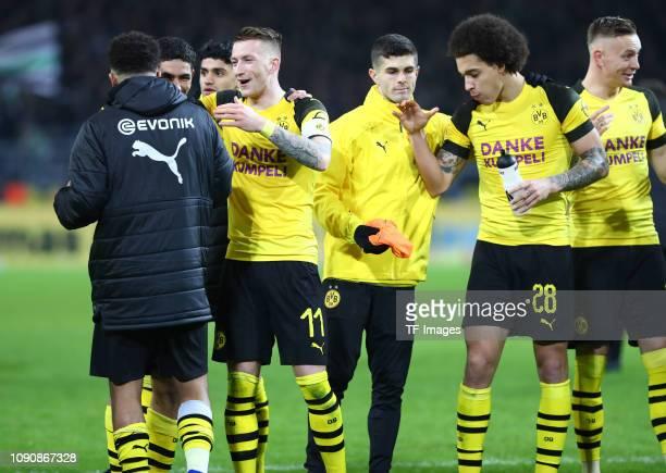 Achraf Hakimi of Borussia Dortmund Christian Pulisic of Borussia Dortmund Axel Witsel of Borussia Dortmund and Marco Reus of Borussia Dortmund...