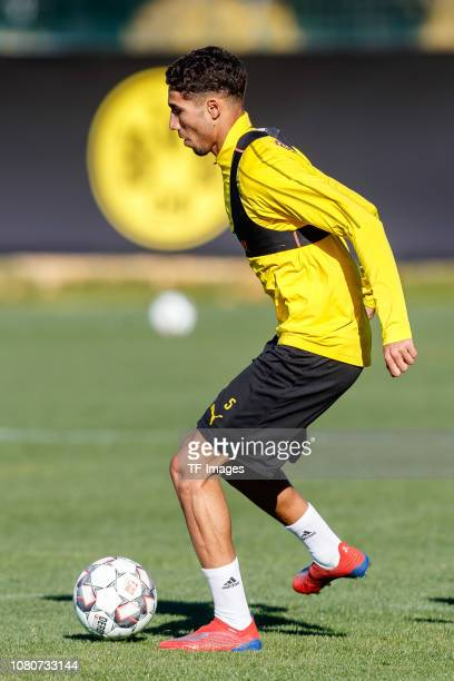 Achraf Hakimi of Borussia Dortmund controls the ball during a training session as part of the Borussia Dortmund training camp on January 10 2019 in...