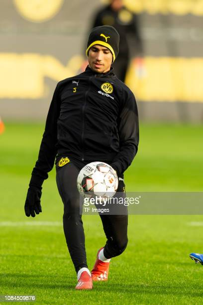 Achraf Hakimi of Borussia Dortmund controls the ball during a training session at BVB training center on January 17 2019 in Dortmund Germany