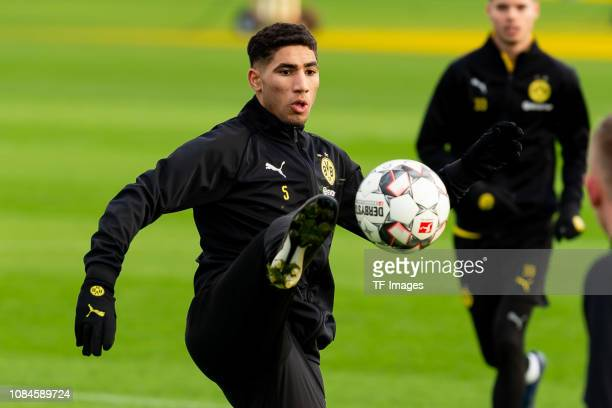 Achraf Hakimi of Borussia Dortmund controls the ball during a training session at BVB training center on December 19 2018 in Dortmund Germany