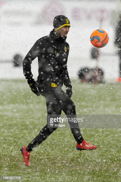 Achraf Hakimi of Borussia Dortmund controls the ball during a training session at BVB training center on January 31 2019 in Dortmund Germany