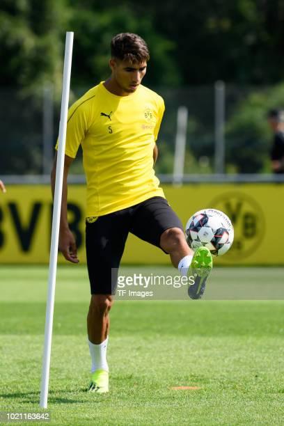 Achraf Hakimi of Borussia Dortmund controls the ball during the Borussia Dortmund training camp on August 5 2018 in Bad Ragaz Switzerland
