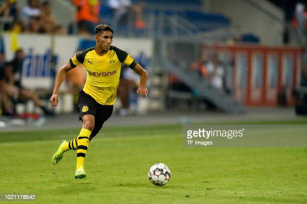 Achraf Hakimi of Borussia Dortmund controls the ball during the friendly match between Borussia Dortmund and Stade Rennais at Cashpoint Arena on...