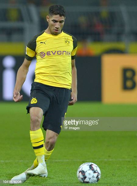 Achraf Hakimi of Borussia Dortmund controls the ball during the Bundesliga match between Borussia Dortmund and 1 FC Nuernberg at Signal Iduna Park on...
