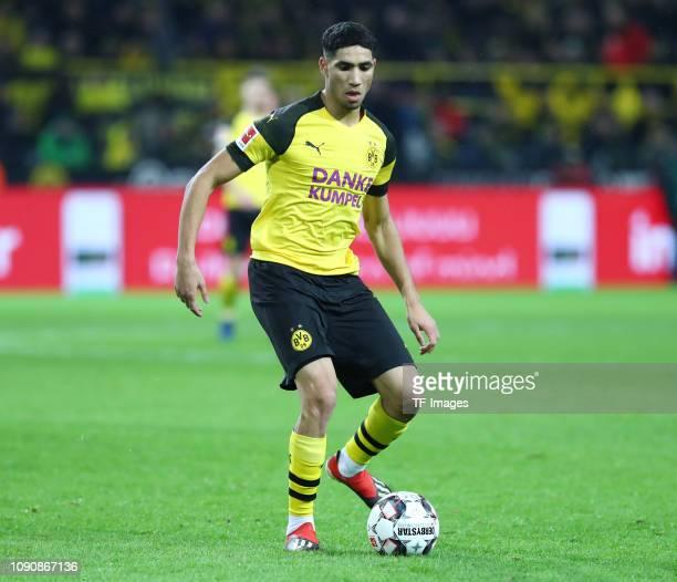 Achraf Hakimi of Borussia Dortmund controls the ball during the Bundesliga match between Borussia Dortmund and Borussia Moenchengladbach at Signal...