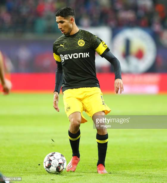 Achraf Hakimi of Borussia Dortmund controls the ball during the Bundesliga match between RB Leipzig and Borussia Dortmund at Red Bull Arena on...