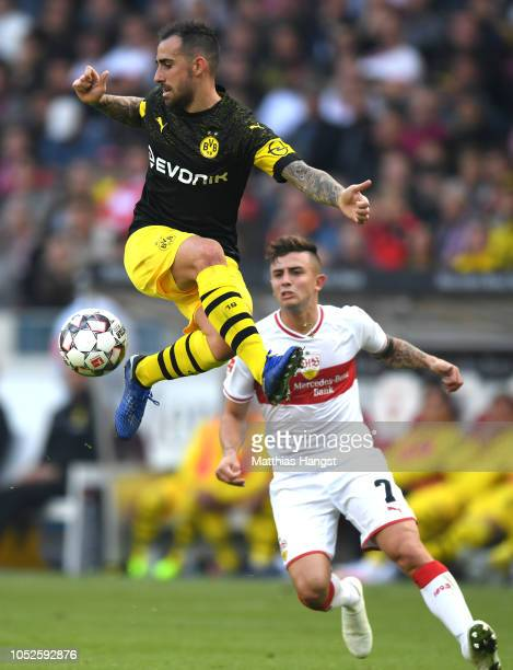Achraf Hakimi of Borussia Dortmund controls the ball in mid air during the Bundesliga match between VfB Stuttgart and Borussia Dortmund at...