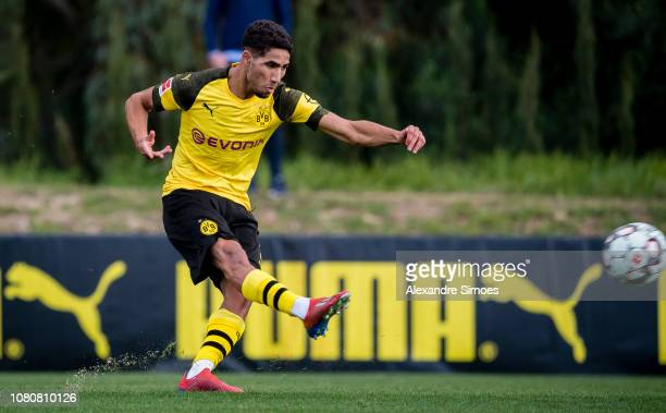 Achraf Hakimi of Borussia Dortmund during a friendly match against Willem II Tilburg as part of the training camp on January 11 2019 in Marbella Spain
