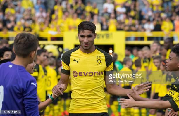 Achraf Hakimi of Borussia Dortmund during the team presentation at the Signal Iduna Park on August 11 2018 in Dortmund Germany