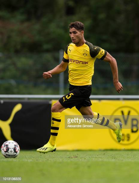 Achraf Hakimi of Borussia Dortmund in action during a test match against FC Zuerich as part of the training camp on August 07 2018 in Bad Ragaz...