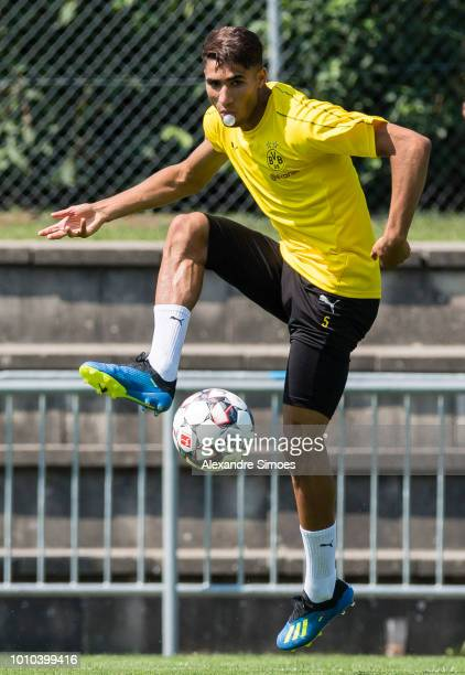 Achraf Hakimi of Borussia Dortmund in action during a training session as part of the training camp on August 03 2018 in Bad Ragaz Switzerland