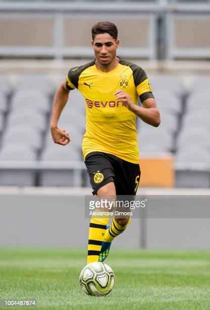 Achraf Hakimi of Borussia Dortmund in action during a training session at the Heinz Field stadium during Borussia Dortmund US Tour 2018 on July 23...