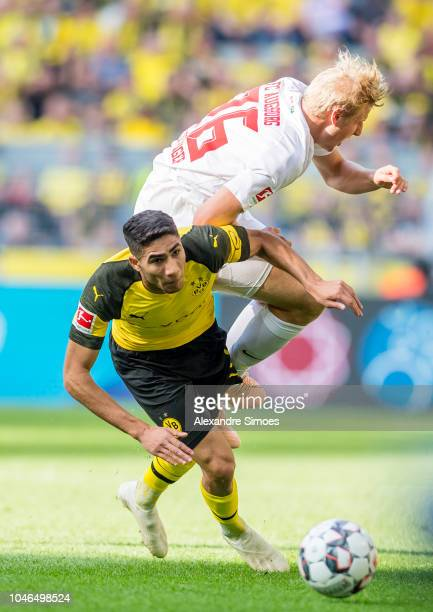 Achraf Hakimi of Borussia Dortmund in action during the Bundesliga match between Borussia Dortmund and FC Augsburg at the Signal Iduna Park on...