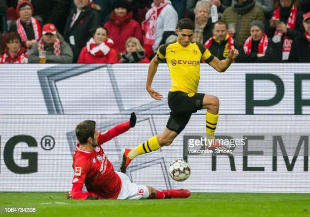 Achraf Hakimi of Borussia Dortmund in action during the Bundesliga match between 1 FSV Mainz 05 and Borussia Dortmund at the Opel Arena on November...