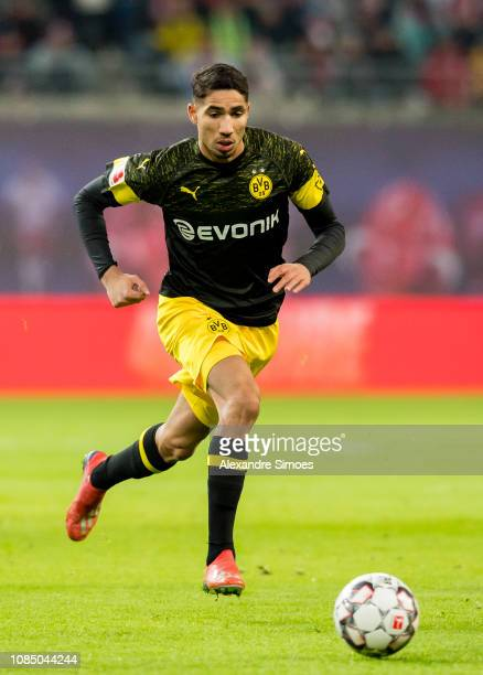 Achraf Hakimi of Borussia Dortmund in action during the Bundesliga match between RB Leipzig and Borussia Dortmund at the Red Bull Arena on January 19...