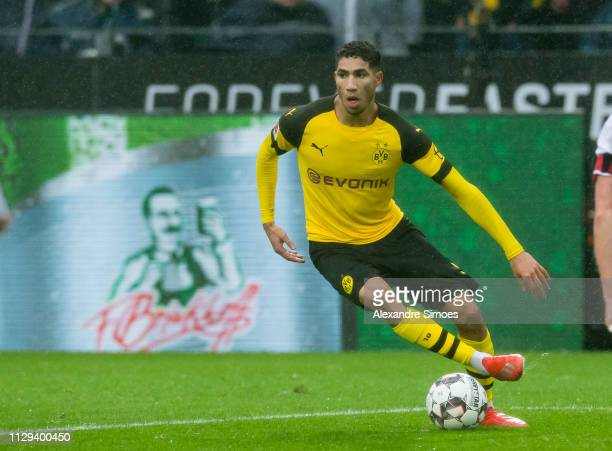 Achraf Hakimi of Borussia Dortmund in action during the Bundesliga match between Borussia Dortmund and VfB Stuttgart at the Signal Iduna Park on...