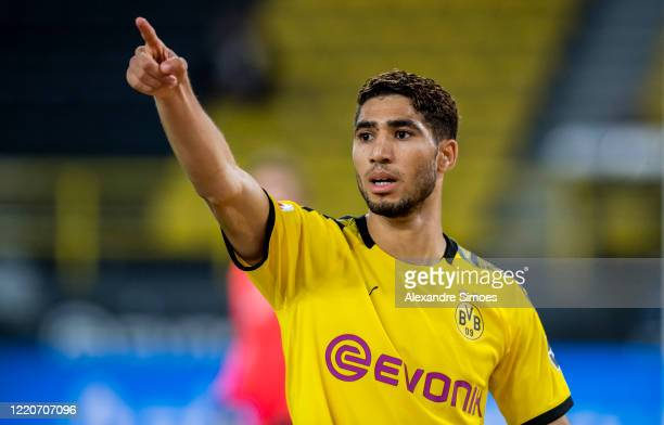 Achraf Hakimi of Borussia Dortmund in action during the Bundesliga match between Borussia Dortmund and 1. FSV Mainz 05 at the Signal Iduna Park on...