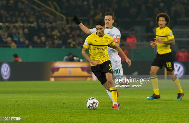 Achraf Hakimi of Borussia Dortmund in action during the DFB Cup match between Borussia Dortmund and Werder Bremen at the Signal Iduna Park on...