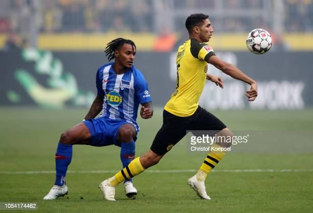 Achraf Hakimi of Borussia Dortmund is challenged by Valentino Lazaro of Hertha BSC during the Bundesliga match between Borussia Dortmund and Hertha...