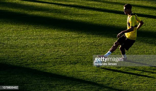 Achraf Hakimi of Borussia Dortmund kicks the ball during a training session as part of the training camp on January 09 2019 in Marbella Spain