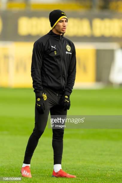 Achraf Hakimi of Borussia Dortmund looks on during a training session at BVB training center on January 17 2019 in Dortmund Germany