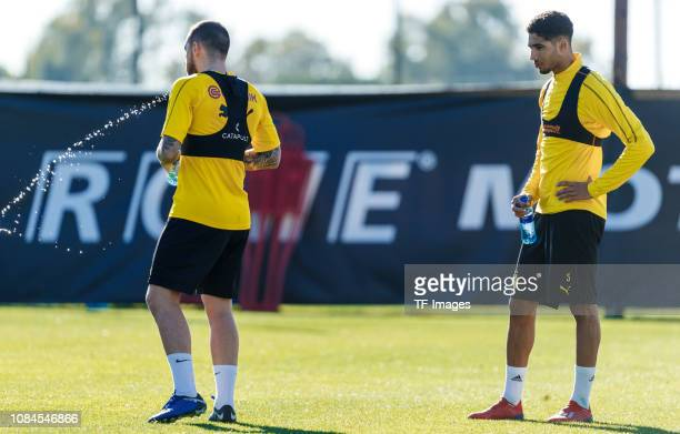 Achraf Hakimi of Borussia Dortmund looks on during a training session as part of the Borussia Dortmund training camp on January 10 2019 in Marbella...