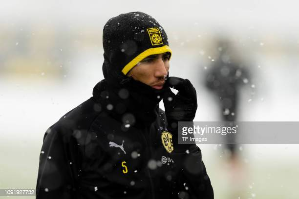 Achraf Hakimi of Borussia Dortmund looks on during a training session at BVB training center on January 31 2019 in Dortmund Germany
