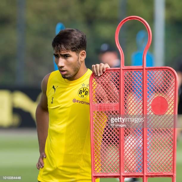 Achraf Hakimi of Borussia Dortmund looks on during the Borussia Dortmund Training Session on July 30 2018 in Dortmund Germany