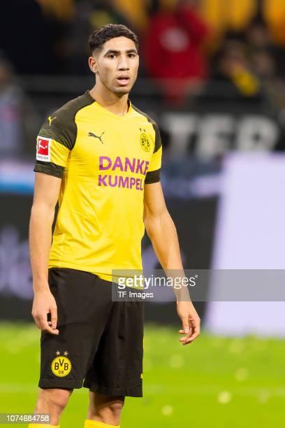 Achraf Hakimi of Borussia Dortmund looks on during the Bundesliga match between Borussia Dortmund and Borussia Moenchengladbach at Signal Iduna Park...