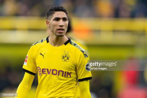 Achraf Hakimi of Borussia Dortmund looks on during the Bundesliga match between Borussia Dortmund and Sport-Club Freiburg at Signal Iduna Park on...