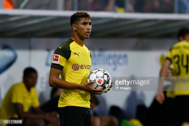 Achraf Hakimi of Borussia Dortmund looks on during the friendly match between Borussia Dortmund and Stade Rennais at Cashpoint Arena on August 3 2018...