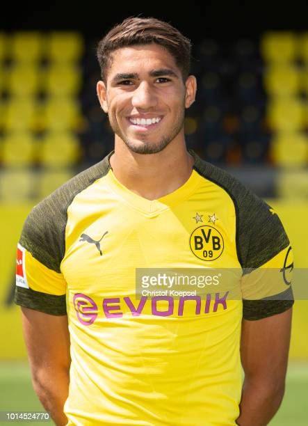 Achraf Hakimi of Borussia Dortmund looks on during the team presentation at Training Ground Brackel on August 10 2018 in Dortmund Germany