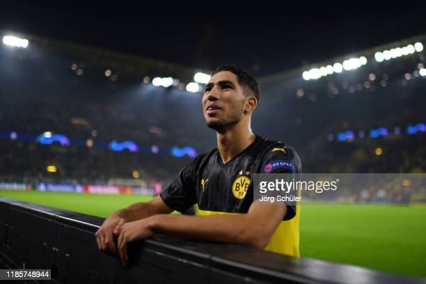 Achraf Hakimi of Borussia Dortmund looks on following the UEFA Champions League group F match between Borussia Dortmund and Inter at Signal Iduna...