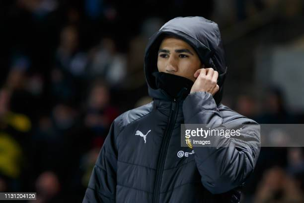 Achraf Hakimi of Borussia Dortmund looks on prior to the Bundesliga match between Hertha BSC and Borussia Dortmund at Olympiastadion on March 16 2019...