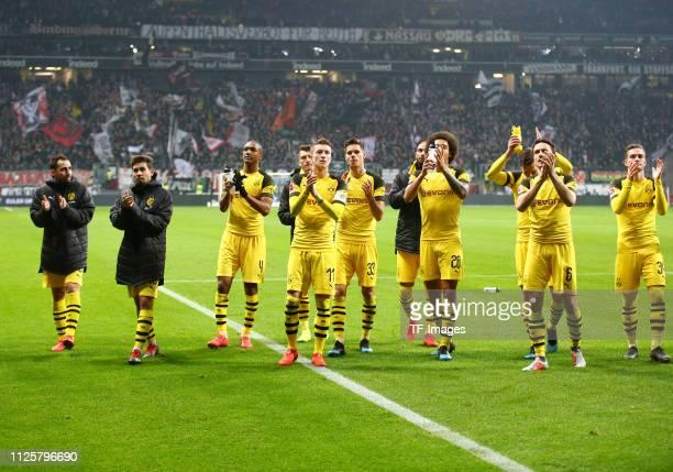 Achraf Hakimi of Borussia Dortmund Paco Alcacer of Borussia Dortmund Francisco Alcacer Garcia of Borussia Dortmund Raphael Guerreiro of Borussia...