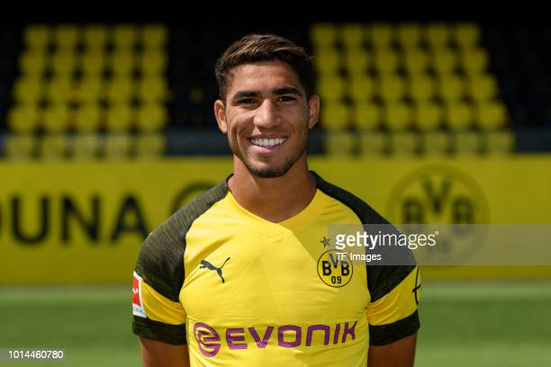Achraf Hakimi of Borussia Dortmund poses during the team presentation at BVB trainings center on August 10 2018 in Dortmund Germany
