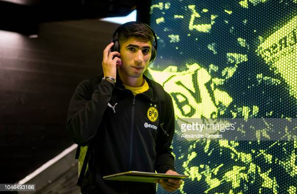Achraf Hakimi of Borussia Dortmund prior to the Bundesliga match between Borussia Dortmund and FC Augsburg at the Signal Iduna Park on October 06...