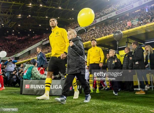 Achraf Hakimi of Borussia Dortmund prior to the Bundesliga match between Borussia Dortmund and FC Bayern Muenchen at the Signal Iduna Park on...