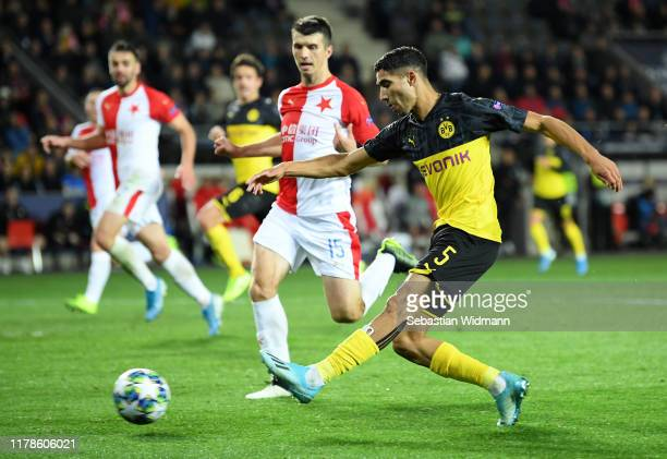 Achraf Hakimi of Borussia Dortmund scores his sides second goal during the UEFA Champions League group F match between Slavia Praha and Borussia...
